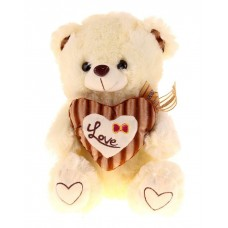 Плюшевый мишка с кремовым сердечком Love 33 см
