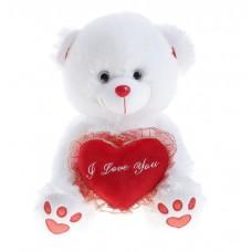 Подарочный белый мишка с сердечком и надписью I love you
