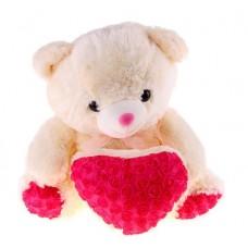 Мишка с сердечком в розочку 42 см