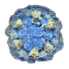 Букет из мягких игрушек с розочками (6 мишек, голубой)