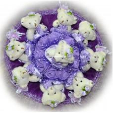 Букет из мягких игрушек с розочками (9 мишек, фиолетовый)