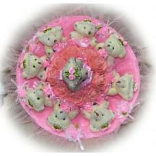Букет из мягких игрушек с розочками (9 мишек, розовый)