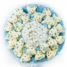 Огромный букет из мягких игрушек (25 медведей, голубой)