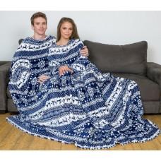 Плед с рукавами для двоих бело-синий с оленями