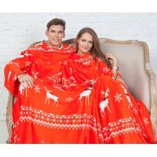 Плед с рукавами для двоих красный с оленями