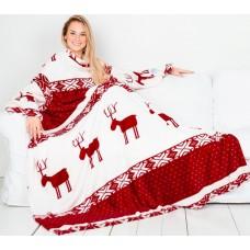 Плед с рукавами бело-бордовый с оленями