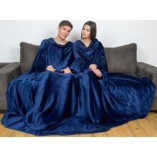 Плед с рукавами для двоих темно-синий