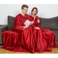 Плед с рукавами для двоих бордовый
