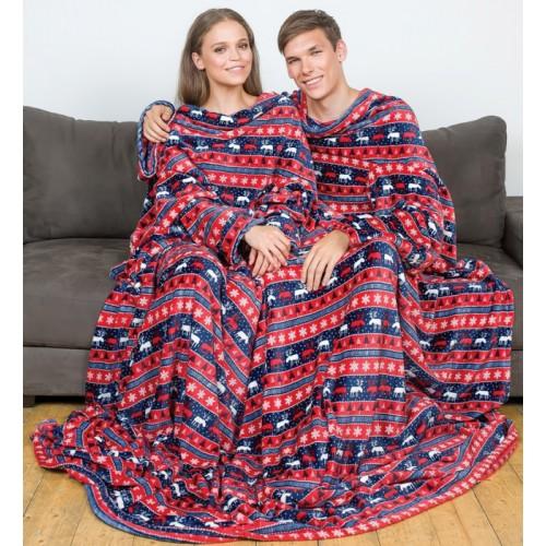 Плед с рукавами для двоих, норвежский узор